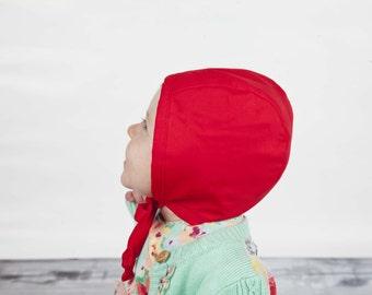 Red Modern Bonnet // Christmas Bonnet // Baby Girl Bonnet