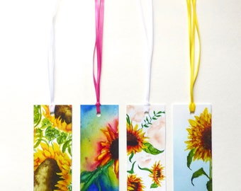 Unique Bookmarks, Handmade Bookmark, Book Lover Gift, Book Accessories, Bookmark Set, Watercolor Flowers, Floral Decor, Flower Bookmarks