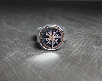 Journey Compass Ring Medieval Ring Journey Compass Jewelry Glass Ring Adjustable Ring Medieval Jewelry Compass Glass Ring Medieval Costume