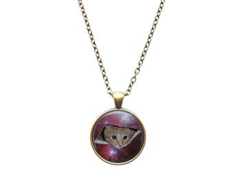 Space jewelry Meme necklace Cat from another dimension pendant