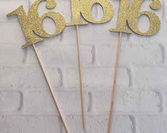 Sweet 16 centerpiece etsy for Glitter numbers for centerpieces