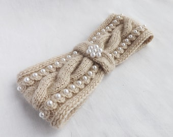 Knitted made to order , Knitting Headband, Knit Headband, Knit Head Band, Ear Warmer, Cable Knit Headband,