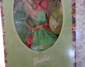 Simply Charming Collector Barbie Doll Green Floral Dress