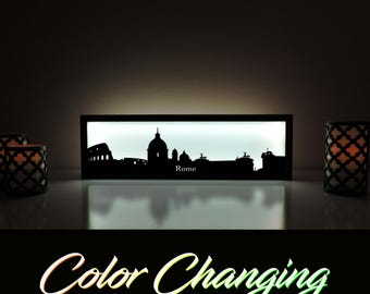 Rome Skyline, Rome Lightbox, Rome Skyline Light Up Picture, Rome Skyline Picture, Nightlight, LED Lamp, Home Decor