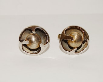 1950's Sigi Pineda Sterling Silver Stamped Abstrac Mexican Mid Century Swivel Ball Cufflinks.