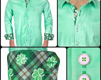 Green St Patrick's Day Men's Designer Dress Shirt - Made To Order in USA
