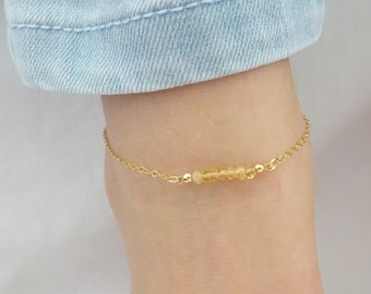 Citrine anklet, November birthstone jewelry, Natural gemstone anklet, Sterling silver, Gold fill, Rose gold fill, Dainty bridesmaid jewelry