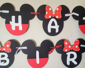 Mickey and Minnie Birthday Banner, Mickey and Minnie Banner, Mickey and Minnie Party, Mickey Minnie Birthday, Minnie Mickey Sign, Backdrop
