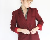 Vintage Blazer, Womens Oversized Maroon Red Double Breasted Blazer, Menswear Inspired, Clothing Under 50, for Women, Loose Fitting Jacket