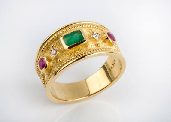 Man Emerald Ring Emerald Gold Ring Byzantine Gold Ring