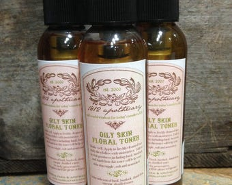 Oily Skin Floral Toner - 1812 recipe, herbal facial toner/astringent 4.5 oz