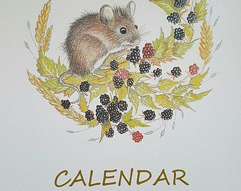 Calendar 2018. Hand made calendar. original illustrations. Louisemoneyoriginals calendar. 2018 calendar. Wildlife. Nature. Hare calendar.