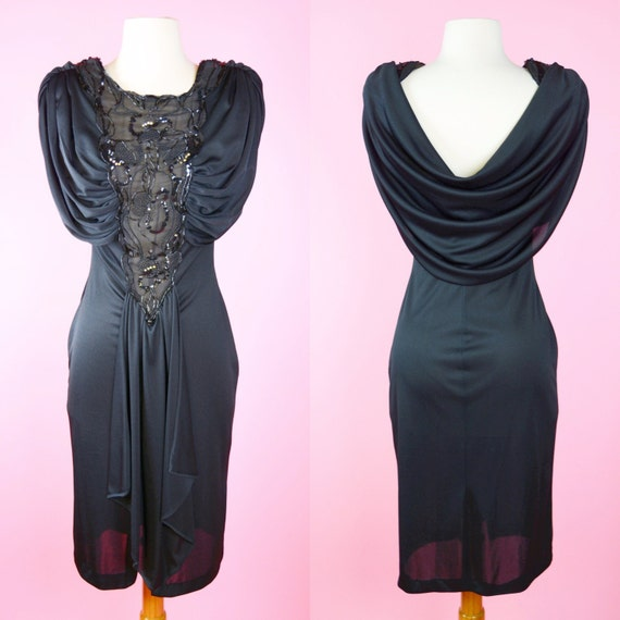 20s Inspired, 80s Dress,  Black Vintage Cocktail, 1980s, Party Dress, 1920s, 30s, Woman's Size X-Small, Small