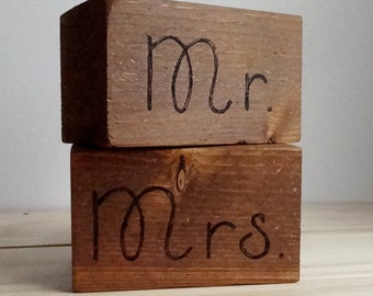 Mr. and Mrs. Sign | Mr. and Mrs. Table Sign | Newlywed Sign | Wooden Block Signs | Name Blocks | Bridal Shower Gift | Newly Married Gift