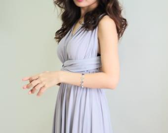 Plus Size Light Grey Bridesmaid Dress Maxi infinity Dress Prom Dress Convertible Dress Wrap Dress