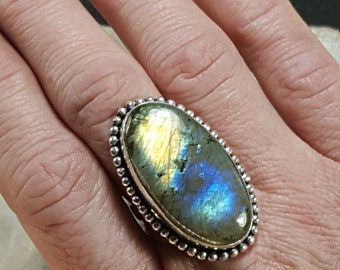 Labradorite Statement Ring - Size 7.75