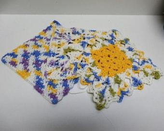 Handmade Assorted Square Crochet Trivet Potholder - set of 3