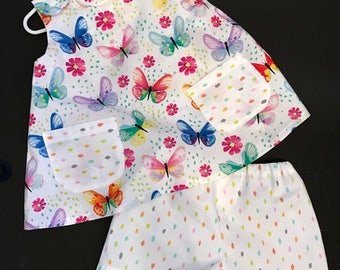12-18 Mos Top and Short set; Butterflies in rainbow colors.