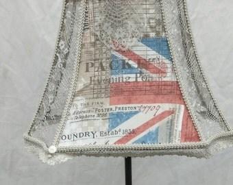fabric lace, Union Jack flag, English lampshade, great Britain, English, fabric lace shade, custom lampshade, shabby n chic, London decor