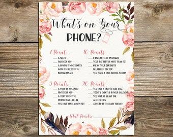Boho Baby Shower What's on Your Phone Game - Printable Phone Raid Game - Boho Floral What's in Your Phone Game - BF-19