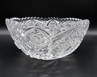 Large Decorative Bowl, Pressed Glass Bowl, Big Bowl, Glass Bowl, Large Bowl, Bowl, Decorative Bowl, Pressed Glass, Vintage Glass, Glass Bowl