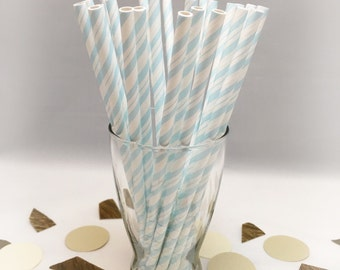 Blue Paper Straws - Boy Baby Shower - Gender Reveal - Oh Baby - Party Straws - Party Straws - Winter Wonderland - Shower Decor - Party Ideas