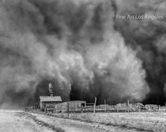 Photo of Farm With Huge Duststorm approaching, Oklahoma, Dust Bowl, 1935