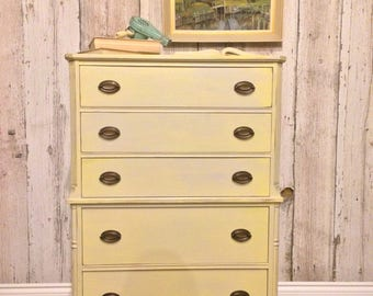 S O L D   Yellow and Blue Watercolour Tallboy Dresser