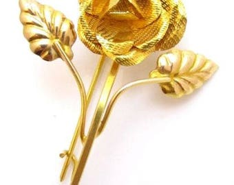 Beautiful Vintage Floral 14K Solid Gold Rose Flower Brooch Pin*585*2.8g*E256