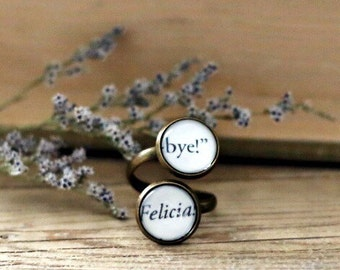 Bye Felicia double book page ring. Book Page Jewelry. Statement ring