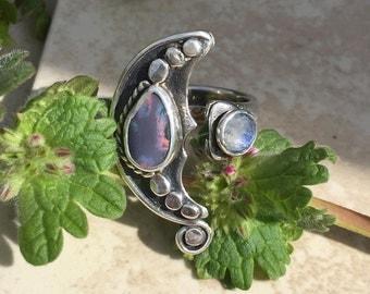 Boulder Opal and Moonstone Sterling Silver Adjustable Ring