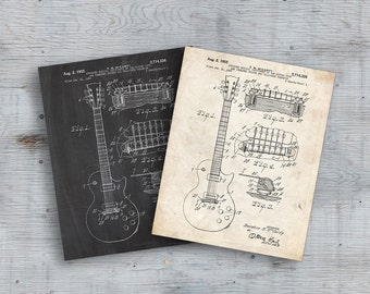 75% OFF SALE - Patent 1955 Gibson Les Paul Guitar Designed By T. McCarty, Electric Guitar Patent, Patent Art, Patent Print, Patent Poster