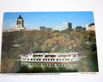 M.S. River Rouge Assiniboine River Winnipeg Postcard 1982  / River Cruise Ship Postcard / Vintage Cruise Ship / Tripix Henry Kalen / Canada