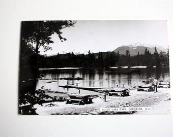Squamish British Columbia Postcard 1962 / Alice Lake Park Squamish Postcard/  Kodachrome/ Canadian Postcard Co./ black and white postcard