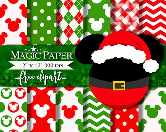 50% OFF SALE Christmas Mickey Mouse Digital Paper Clipart Clip Art, Holidays, Green Red