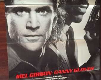 Lethal Weapon Original Movie Poster / Mel Gibson & Danny Glover 1987 Vintage Film Poster