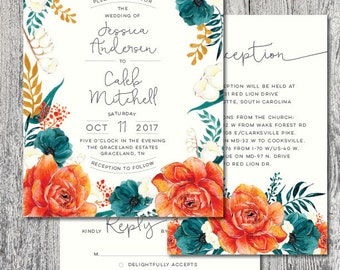 Wedding invitation printable set vintage rustic orange floral design DIGITAL FILE