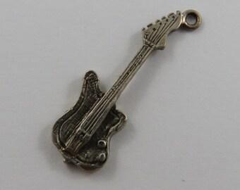 Electric Guitar Sterling Silver Vintage Charm For Bracelet