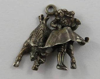 Matador With la Muleta Bullfighting Sterling Silver Vintage Charm For Bracelet
