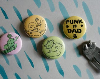 "hand drawn 1"" inch buttons / skateboarding / snail turtle frog / punk is dad / wearable art"