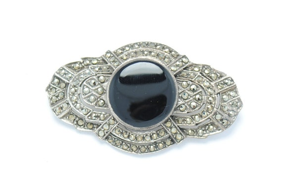 Silver brooch - Vintage brooch - onyx and marcasite brooch - gift idea - woman pin