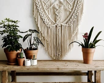 Macrame Wall Hanging / Macrame Wall Hanging / Modern Macrame / Wall Tapestry / Macrame Tapestry / Large Macrame Wall Hanging/ Birch Wood