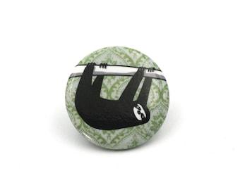 sloth button, funny sloth badge, pinback button pin, sloth button, sloth hanging on a branch, pinback, cute sloth, black sloth