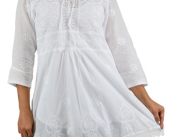 INDIA CHIKAN A Line Short Cotton White Top-Kurti-With Lucknow Chikan Hand Embroidery Lace Hemline
