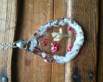 Agate Slice and Dried Pink Flower Pendant