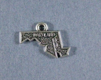 5 Maryland Charms - Maryland Pendants - State Charms - Maryland - Antique Silver - 19mm x 15mm  -- (C7-12181)