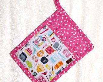 Pocket Pot Holder • Retro Kitchen Decor • Hot Pink Hot Pad • Quilted Potholder • Pink Oven Mitt • Vintage Kitchen Tools Print • Gift For Her