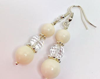Ivory Swarovski Pearl and Crystal Earrings Wedding Jewelry Swarovski Elements Cream Pearl Drops Crystal Bridal Dangles Mother of the Bride