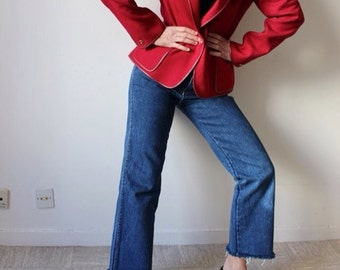 Uniform / LOUIS FERAUD / Vintage jacket / red Bordeaux / leather & wool / cutting right