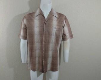 Vintage Mens 70's Disco Polyester Shirt Gradient Shadow Striped Atomic Joel L XL
